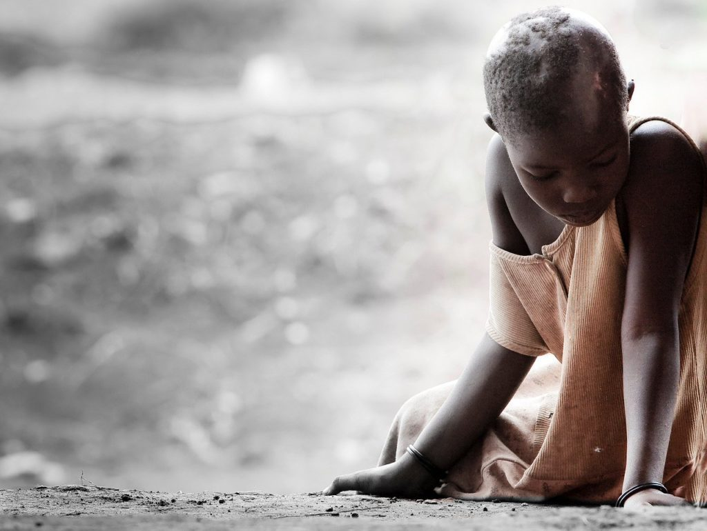 Sick child in poverty